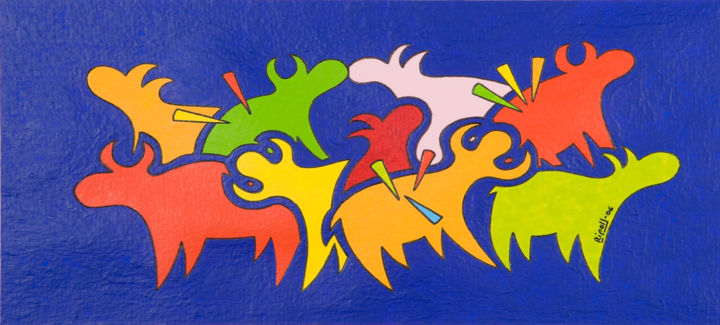 Toritos toreados - Painting,  5.9x11.4 in, ©2006 by Angel Ripoll -                                                                                                                                                                                                                                                                                                                                                                                                                                                                                                                                                                                                                                      Pop Art, pop-art-615, Animals, toro, azul, animales, españa, spain, spanish, figura, pop, pintura, torero