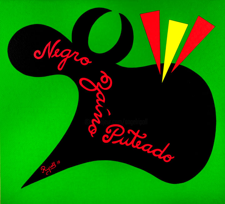 Negro zaíno puteado - Painting,  70x76 cm ©2010 by Angel Ripoll -                                                                        Pop Art, Naive Art, Paper, Animals, toro, animales, españa, spain, pop, humor, green