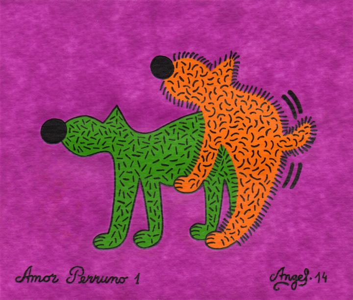 Amor Perruno 1 - Painting,  5.1x6.3 in, ©2014 by Angel Ripoll -                                                                                                                                                                                                                                                                                                                                                                                                          Pop Art, pop-art-615, Dogs, perro, animales, amor, dibujo, acrílico