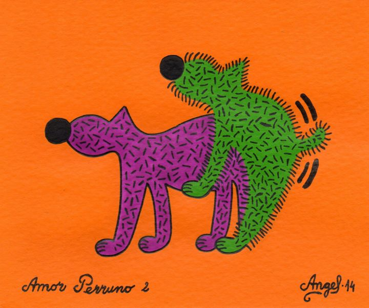 Amor perruno 2 - Painting,  13x16 cm ©2014 by Angel Ripoll -                                                            Pop Art, Paper, Dogs, perro, animales, color, pintura, dibujo