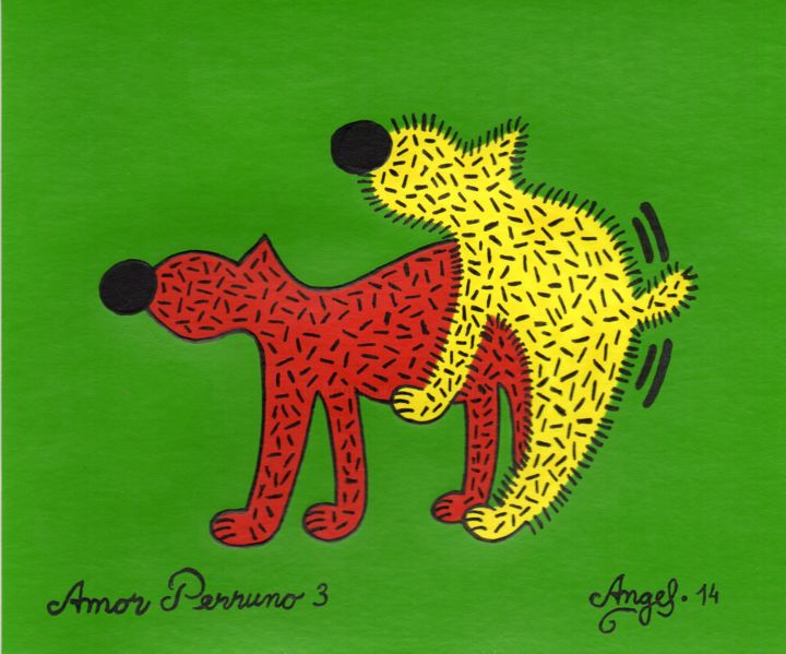 Amor perruno 3 - Painting,  5.1x6.3 in, ©2014 by Angel Ripoll -                                                                                                                                                                                                                                                                                                                                                                                                          Pop Art, pop-art-615, Dogs, perro, animales, color, pintura, acrílico