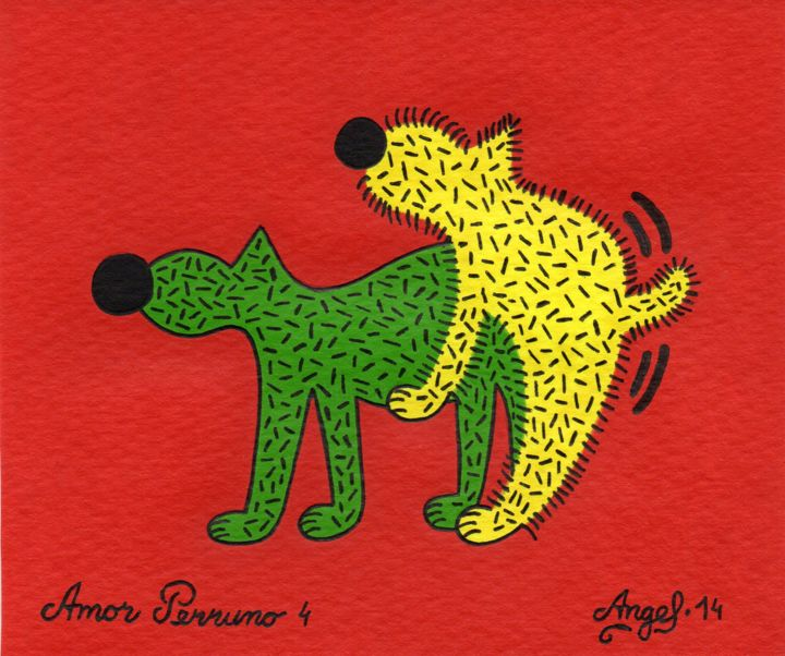 Amor perruno 4 - Painting,  13x16 cm ©2014 by Angel Ripoll -                                                            Pop Art, Paper, Dogs, perro, animales, color, pintura, dibujo