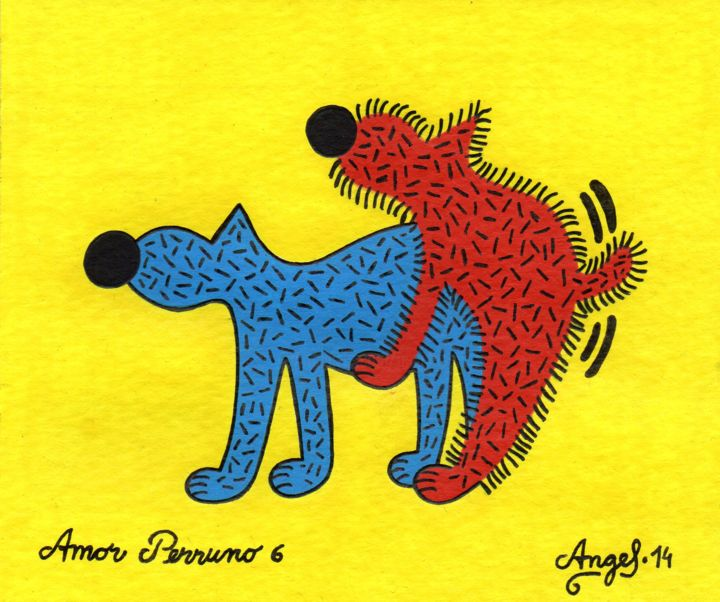Amor perruno 6 - Painting,  5.1x6.1 in, ©2014 by Angel Ripoll -                                                                                                                                                                                                                                                                                                                                                              Pop Art, pop-art-615, Dogs, perro, animales, dibujo, pintura