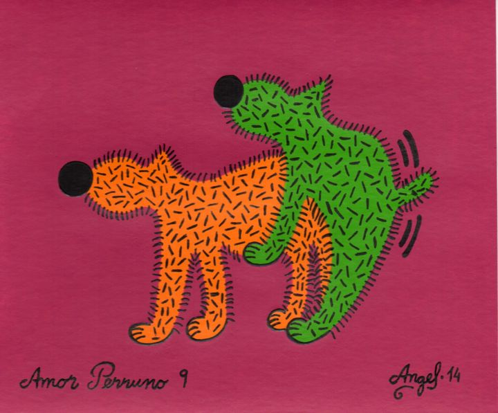 Amor perruno 9 - Painting,  5.1x6.1 in, ©2014 by Angel Ripoll -                                                                                                                                                                                                                                                                                                                                                              Pop Art, pop-art-615, Dogs, perro, animales, color, dibujo