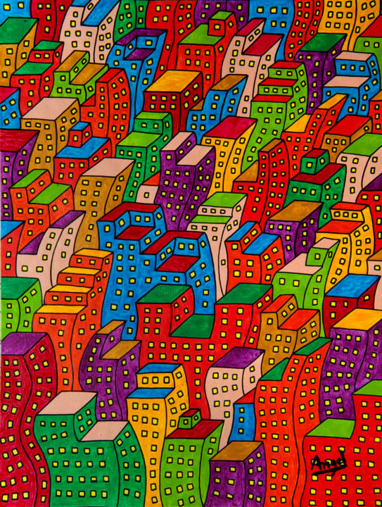Colmenas humanas 3 - Pintura,  12,6x9,5 in, ©2014 por Angel Ripoll -                                                                                                                                                                                                                                                                                                                                                                                                                                                                                                                                                                                                                                      Pop Art, pop-art-615, artwork_cat.Cities, artwork_cat.Cityscape, ciudad, color, city, edificios, acrílico, buildings, acrylic, landscape, urban