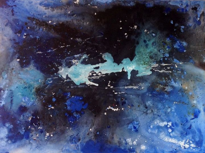 Blue - Painting,  74x104x4 cm ©2015 by Angelucci Luisa -                                        Conceptual Art, Canvas