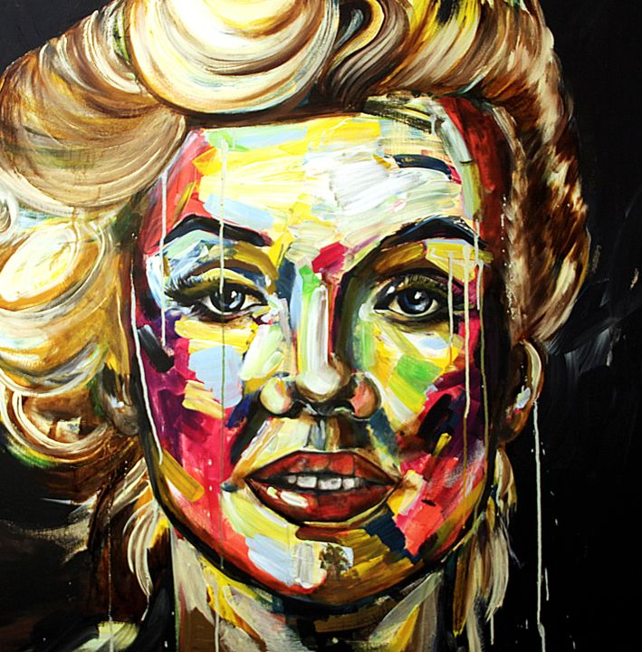 Non sono Marilyn - Painting,  100x100x2 cm ©2016 by Angelucci Luisa -                                            Canvas, People, marilyn
