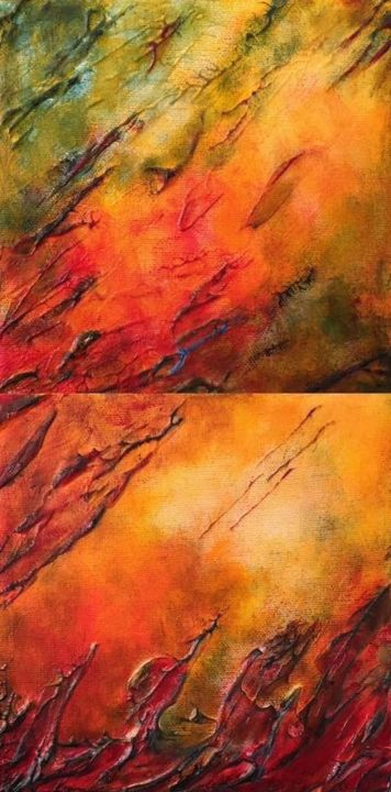 Turn the Page (Diptych) - ©  color, orange, red, autumn, seasons, change, abstract, expressionism Online Artworks