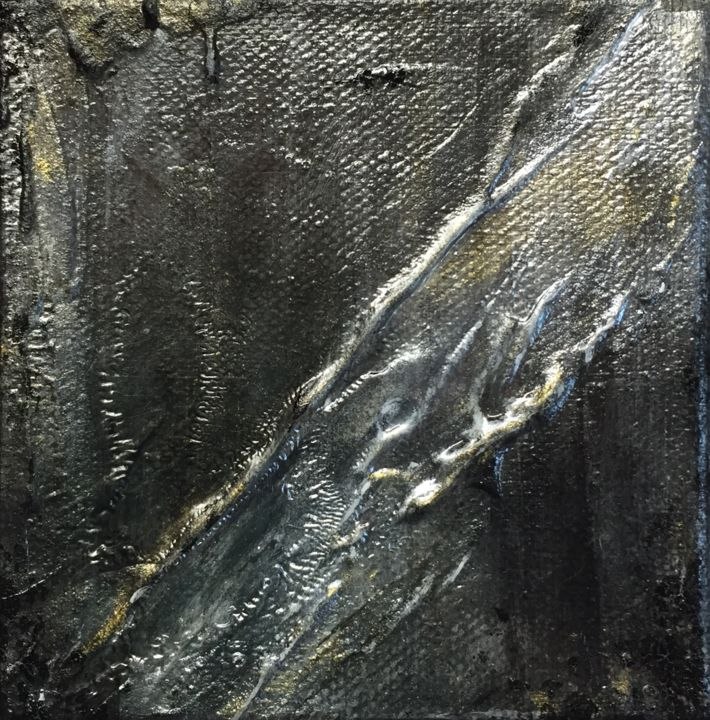 Time in Space - © 2017 black, metallic, silver, gold, texture, acrylics, time, space Online Artworks
