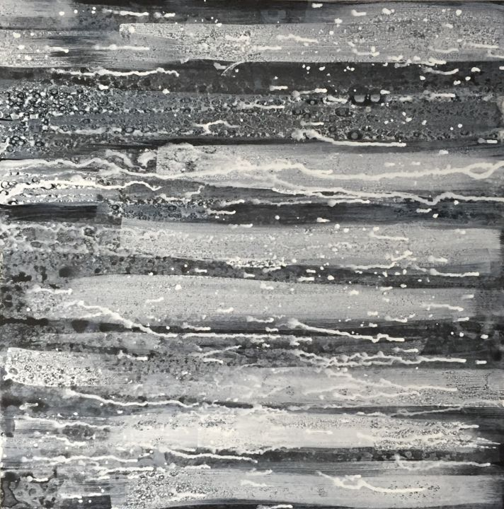 Spilt Milk - Painting,  24x24x2 in ©2017 by Angie Chapman -                                                        Abstract Art, Abstract Expressionism, Abstract Art, abstract, alcohol, water, wood, black, white, conceptual, mixed media