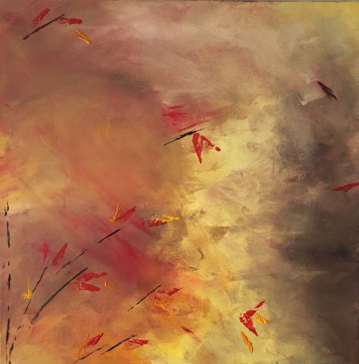 Fall of Nature I - Painting,  24x24x2 in, ©2016 by Angie Chapman -                                                                                                                                                                                                                                                                                                                                                                                                                                                                                                                                                                                                                                                                                                                                                                          Abstract, abstract-570, Abstract Art, Colors, Landscape, Nature, autumn, orange, brown, yellow, red, colour, color, abstract, trees, impressionistic