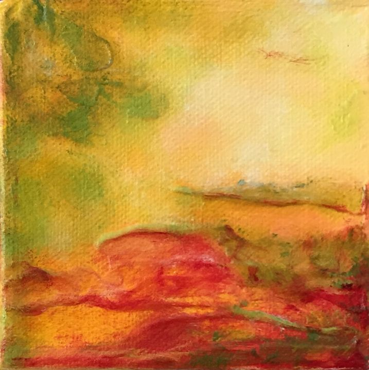 Calm - Painting,  4x4x2 in ©2018 by Angie Chapman -                                                                                Abstract Art, Abstract Expressionism, Expressionism, Abstract Art, Landscape, abstract, color, landscape, expressionism, red, orange, green, yellow