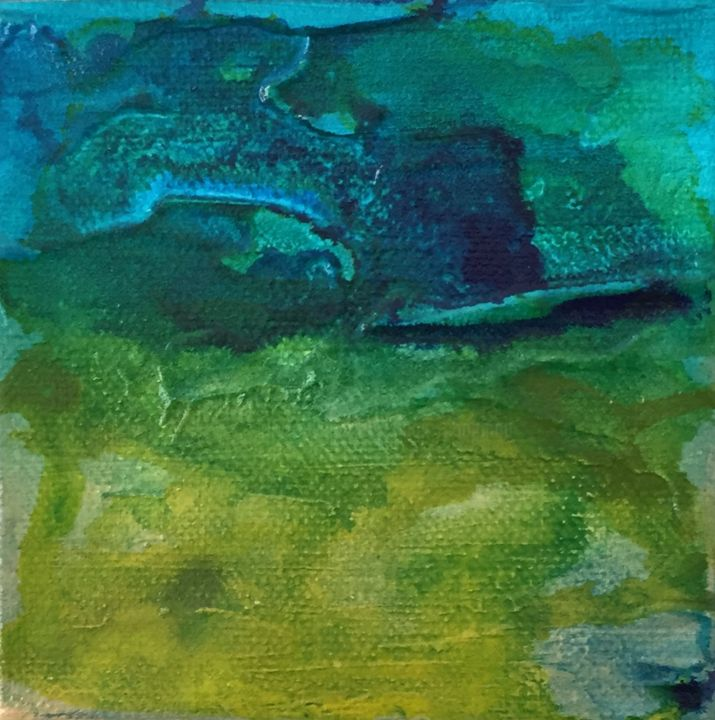 Liberty - Painting,  4x4x2 in ©2018 by Angie Chapman -                                                                                                        Abstract Art, Abstract Expressionism, Expressionism, Impressionism, Abstract Art, Colors, Landscape, abstract, expressionism, color, blue, green, water