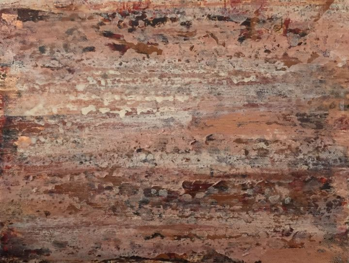 Embers - Painting,  9x12x1 in ©2017 by Angie Chapman -                                        Abstract Art, Colors, abstract, expressionism, wood, nature, neutrals, colors