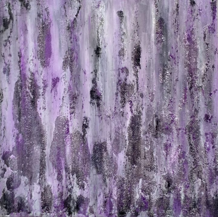 Rocking The Tides - Painting,  24x24x1.5 in ©2017 by Angie Chapman -                                                        Abstract Art, Abstract Expressionism, Abstract Art, color, violet, sea, texture, grey