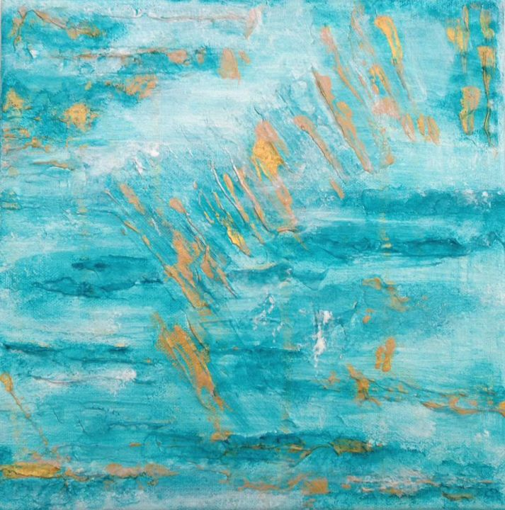 Sea and Sand 2 - Painting,  0.4x3.9x3.9 in ©2014 by Angie Chapman -                                            Abstract Art, Water, Abstract, acrylic, water, sea