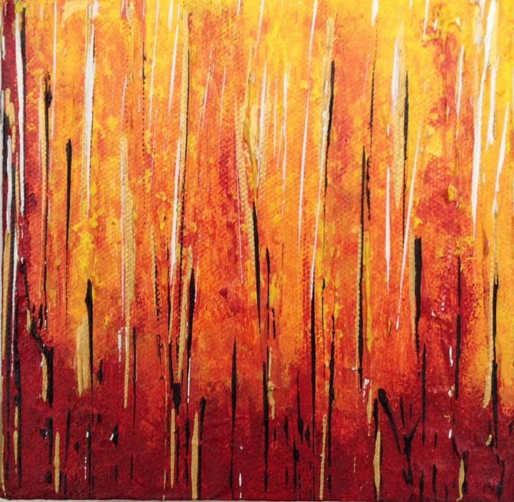 On Fire - Painting,  6x6x2 in, ©2014 by Angie Chapman -                                                                                                                                                                                                                                                                      Abstract, abstract-570, Abstract Art, Abstract, acrylic
