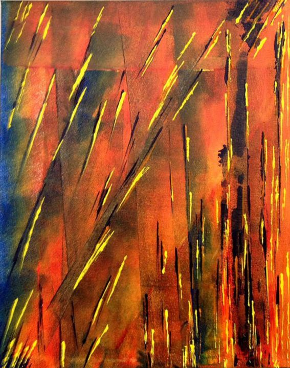 Firecrackers - Painting,  20x1x16 in, ©2013 by Angie Chapman -                                                                                                                                                      Acrylic, abstract, colour