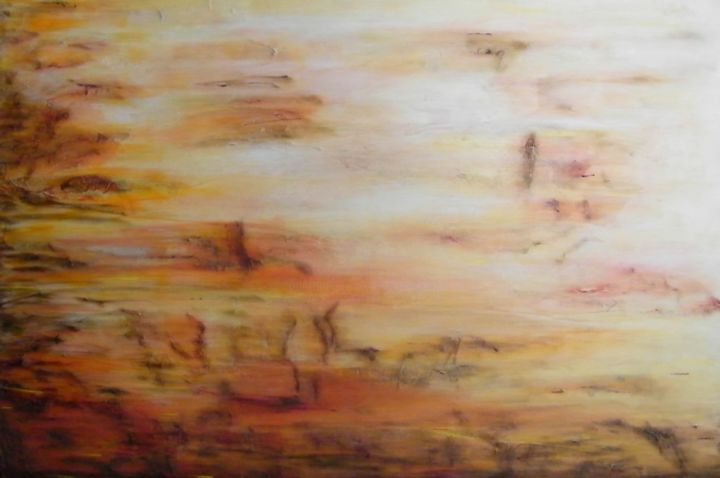 Autumn Breeze - Painting,  24x36 in ©2014 by Angie Chapman -                                                                                                        Abstract Expressionism, Abstract Art, Conceptual Art, Contemporary painting, Colors, Abstract Art, Nature, autumn colours, color, autumn, fall, abstract, expressionism, leaves, red, gold, yellow, orange