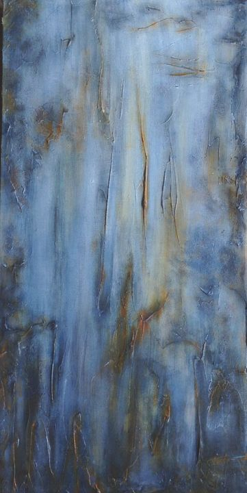 Falling Water - Painting,  24x12x2 in, ©2015 by Angie Chapman -                                                                                                                                                                                                                                                                                                                                                                                                                                                                                                                                                                                                                                                                                                                              Abstract, abstract-570, Abstract Art, Water, abstract, water, nature, acrylic, texture, layers, depth, complimentary, blue, orange, grey