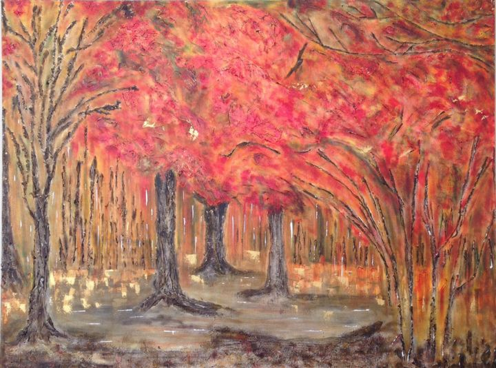 In The Shadow of the Trees - Painting,  30x40x2 in ©2015 by Angie Chapman -                                                                                Abstract Expressionism, Abstract Art, Colors, Nature, Tree, trees, tree, colour, color, abstract, expressive, expression, red, orange, forest, shadows, charcoal, impression