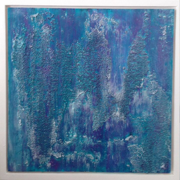 Changing Emotion - Painting,  11x11x1 in, ©2016 by Angie Chapman -                                                                                                                                                                                                                                                                                                                                                                                                                                                                                                                                                                                          Abstract, abstract-570, Abstract Art, abstract, blue, violet, emotion, life, water, colour, texture, grit