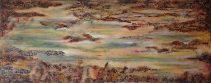 Where We Meet - Painting,  16x40x2 in, ©2016 by Angie Chapman -                                                                                                                                                                                                                                                                                                                                                                                                                                                                                                                                                                                          Abstract, abstract-570, Abstract Art, Colors, Mortality, Nature, abstract, color, heaven, sky, earth, acrylic