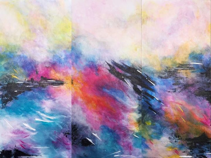Emotional Deluge (Triptych) - Painting,  12x18x2 in, ©2016 by Angie Chapman -                                                                                                                                                                                                                                                                                                                                                                                                                                                                                                                                                                                                                                                                                                                                                                                                                      Abstract, abstract-570, Abstract Art, Beach, Colors, Landscape, Nature, abstract, expressionism, colour, color, contemporary, nature, emotion, pink, blue, sky