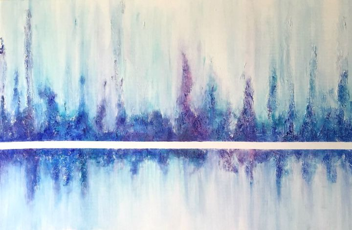 The Blue Divides II - Painting,  24x36x1.5 in, ©2016 by Angie Chapman -                                                                                                                                                                                                                                                                                                                                                                                                                                                                                                                                                                                                                                                                                                                                                                                                                      Abstract, abstract-570, Abstract Art, Colors, Nature, Seascape, Water, abstract art, colors, expressionism, blue, violet, water, reflection, division, texture, sea