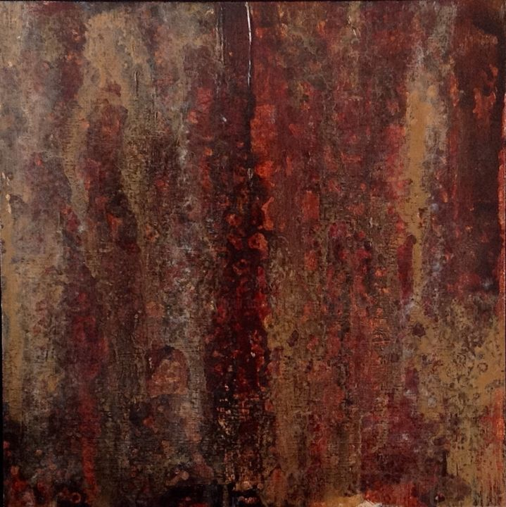 The Narrow Gate - Painting,  10x10 in ©2017 by Angie Chapman -                                                                Abstract Art, Abstract Expressionism, Expressionism, Impressionism, narrow, acrylic, expressionism, earth, autumn, gold, brown, red, rust