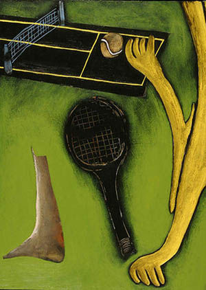 """Painting titled """"The ball was out"""" by Angonys Art, Original Art,"""