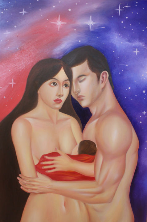 """Painting titled """"Maya and Her Man"""" by Ánh Nguyễn, Original Art, Oil"""