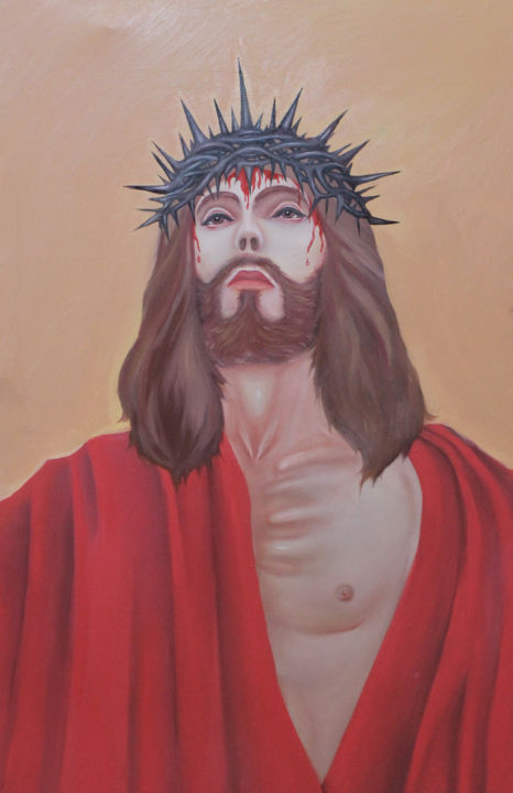 """Painting titled """"The Christ With The…"""" by Ánh Nguyễn, Original Art, Oil"""