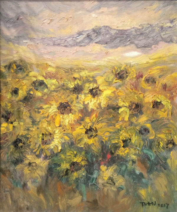 """Painting titled """"bright yellow color"""" by Anh Tuan Le, Original Art, Oil"""