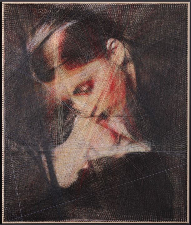 """Painting titled """"Kiss (Algorithmic A…"""" by Ani & Andrew Abakumovs, Original Art, Thread"""