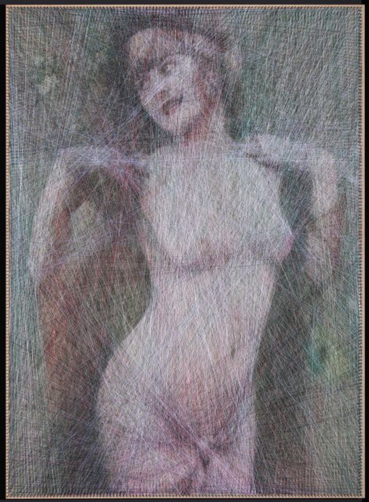 """Painting titled """"Pretty Woman (Algor…"""" by Ani & Andrew Abakumovs, Original Art, Thread Mounted on Wood Panel"""