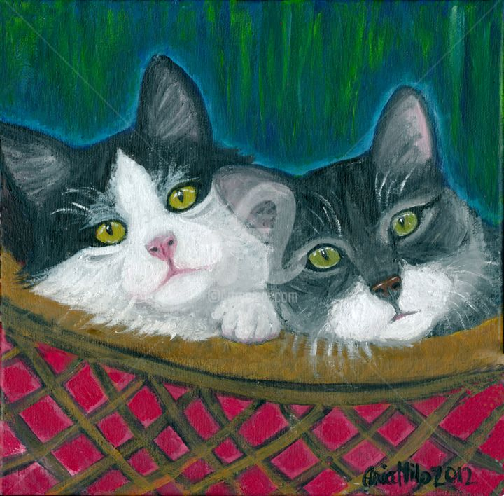 """Painting titled """"Kittes In a Basket"""" by Ania M Milo, Original Art, Acrylic"""