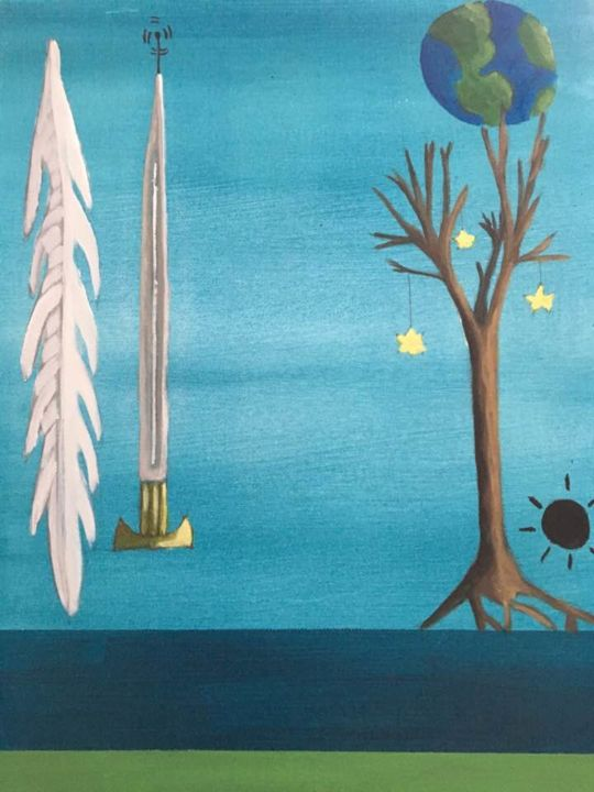 L'orchestre de justice - Painting,  20x16x1 in ©2018 by Anik Fortin -                                                                    Surrealism, Symbolism, Cotton, Nature