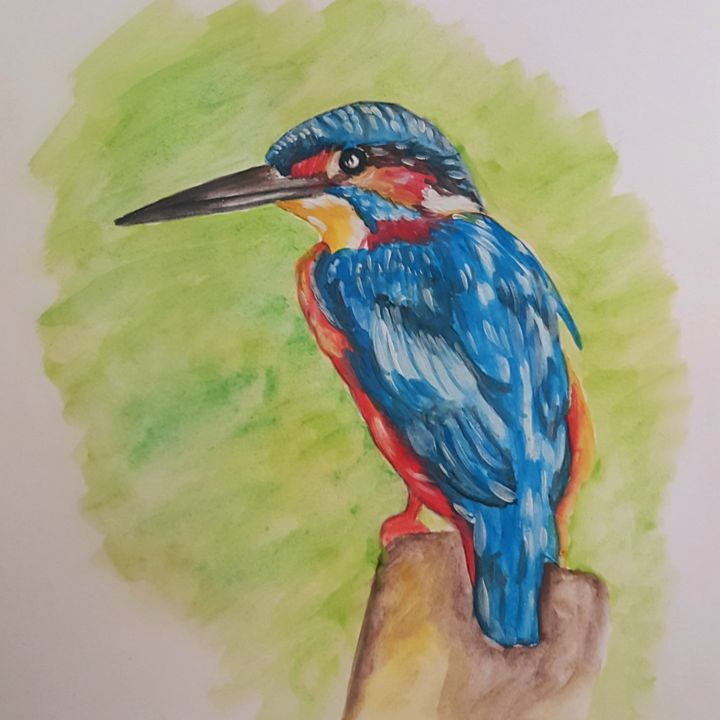 """Painting titled """"Blue bird"""" by Ana Isabel Neto, Original Art, Watercolor"""