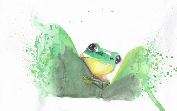 """Painting titled """"Curious Frog"""" by Ana Isabel Neto, Original Art, Watercolor"""