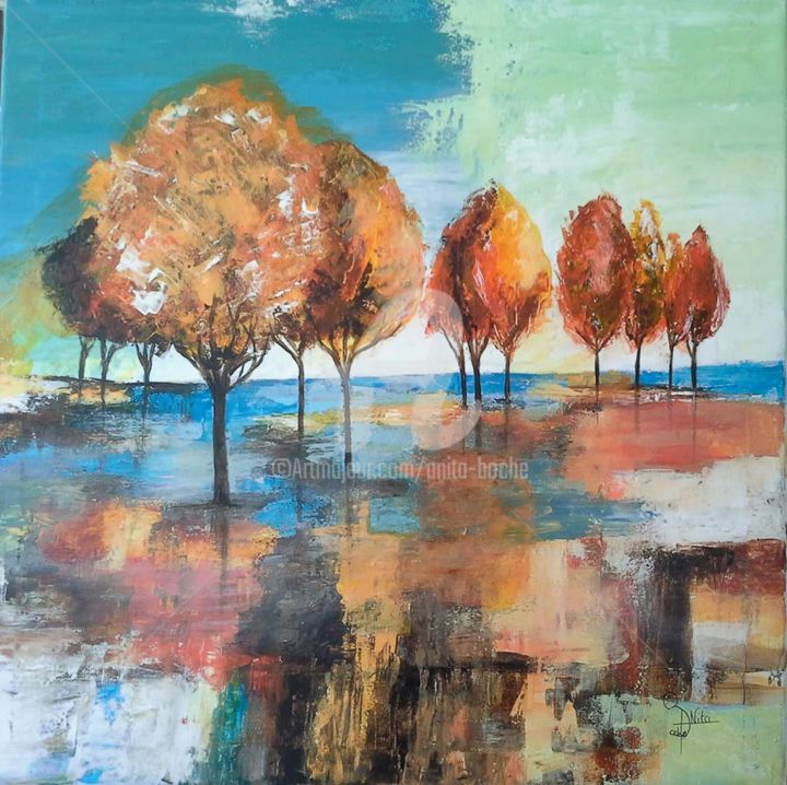beaux reflets - Painting,  70x70x1.5 cm ©2018 by anita boche -                                                        Figurative Art, Canvas, Tree