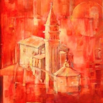 """Painting titled """"Piran - red one"""" by Anka Brlan, Original Art, Oil"""