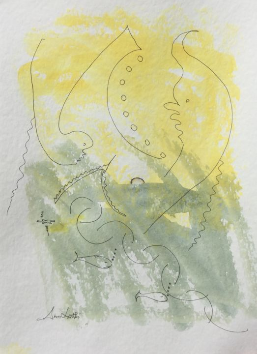 Painting, watercolor, abstract, artwork by Ann Lahti