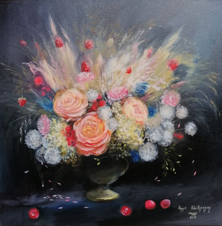 """Painting titled """"Beauty flowers"""" by Anna Aleksanyan, Original Art, Oil Mounted on Stretcher frame"""