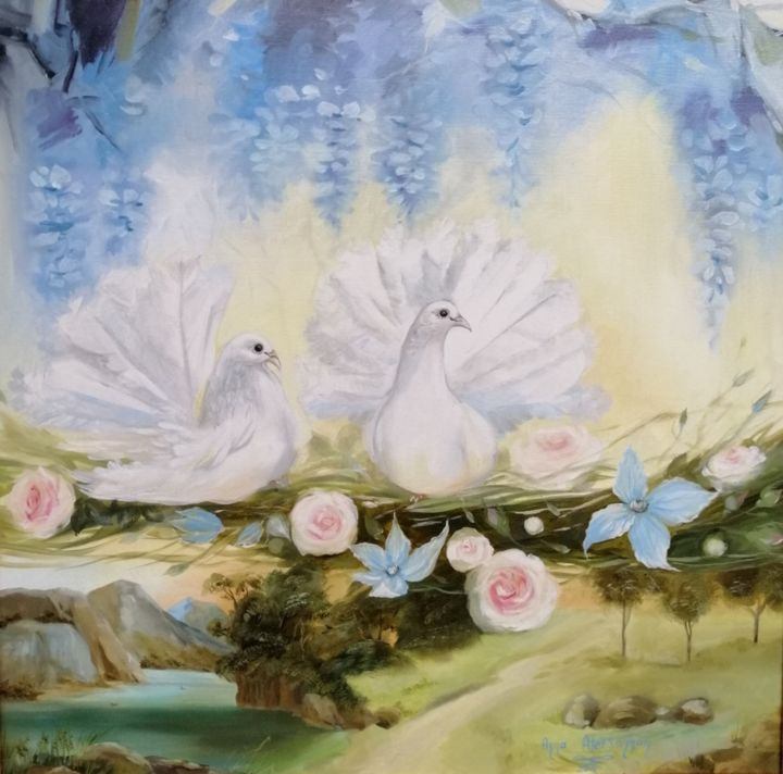 """Painting titled """"Nature love"""" by Anna Aleksanyan, Original Art, Oil Mounted on Stretcher frame"""