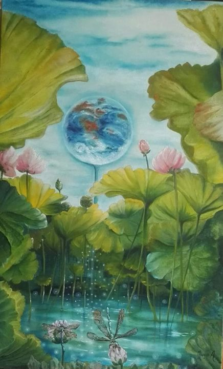 """Painting titled """"MISTICO..the journey"""" by Anna Grisabella Nuzzo, Original Art, Oil"""