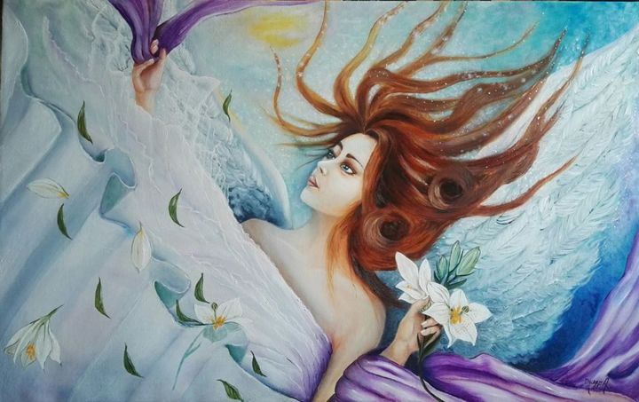 """Painting titled """"Mon Ange"""" by Anna Grisabella Nuzzo, Original Art, Oil"""