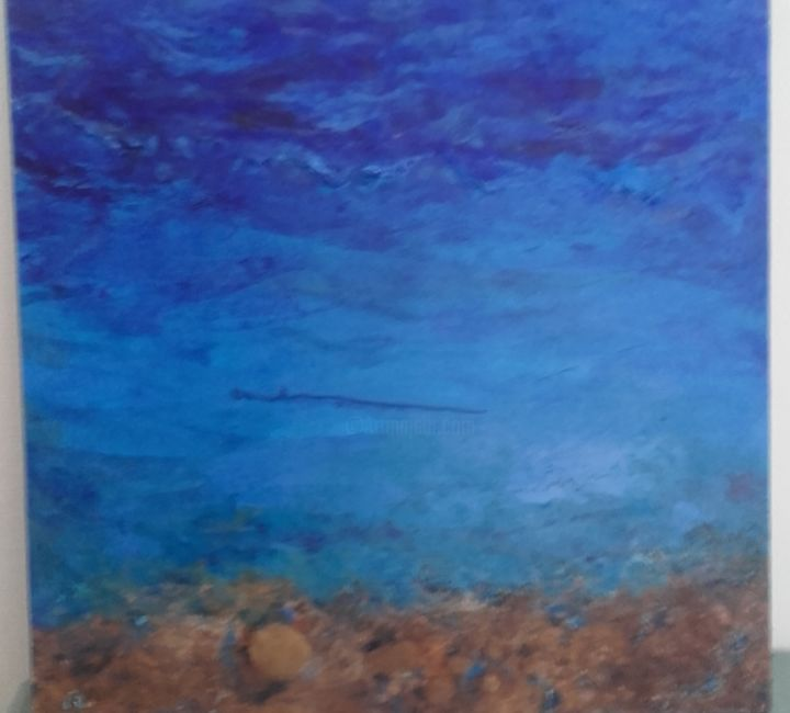 Littoral africain - Painting,  27.6x27.6x1.2 in, ©2017 by Anna -                                                                                                                                                                                                                                                                      Abstract, abstract-570, Seascape, bleu, sable