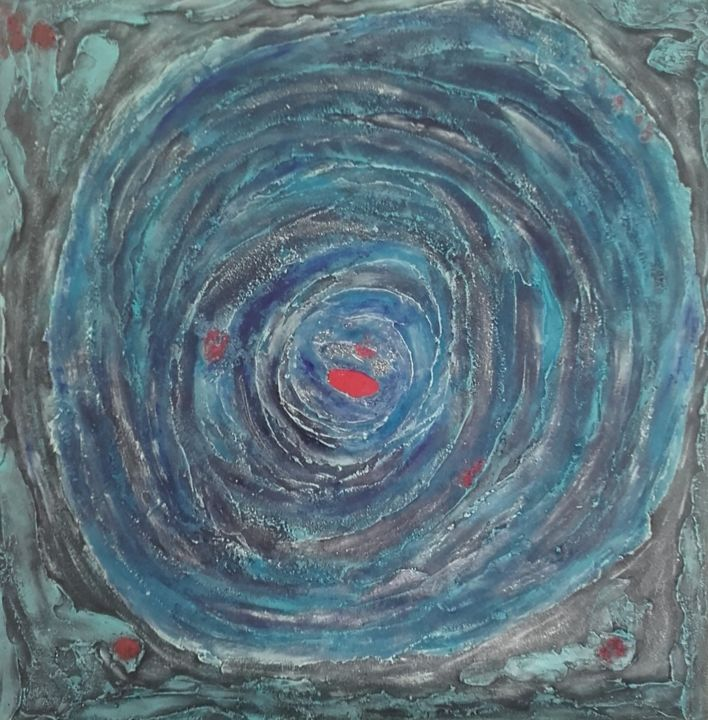 Red hole - Painting,  31.5x31.5 in, ©2019 by Anna -                                                                                                                                                                          Abstract, abstract-570, Outer Space