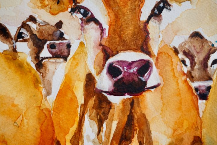 Jersey Cows Milking Time Painting By Anna Pawlyszyn Artmajeur